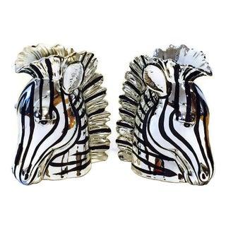Vintage Fitz & Floyd Metallic Zebra Vases - A Pair