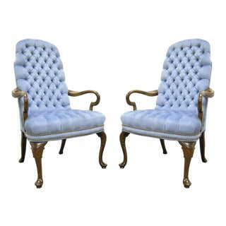 Vintage Ethan Allen Queen Anne Blue Tufted Library Office Lounge Arm Chairs - a Pair