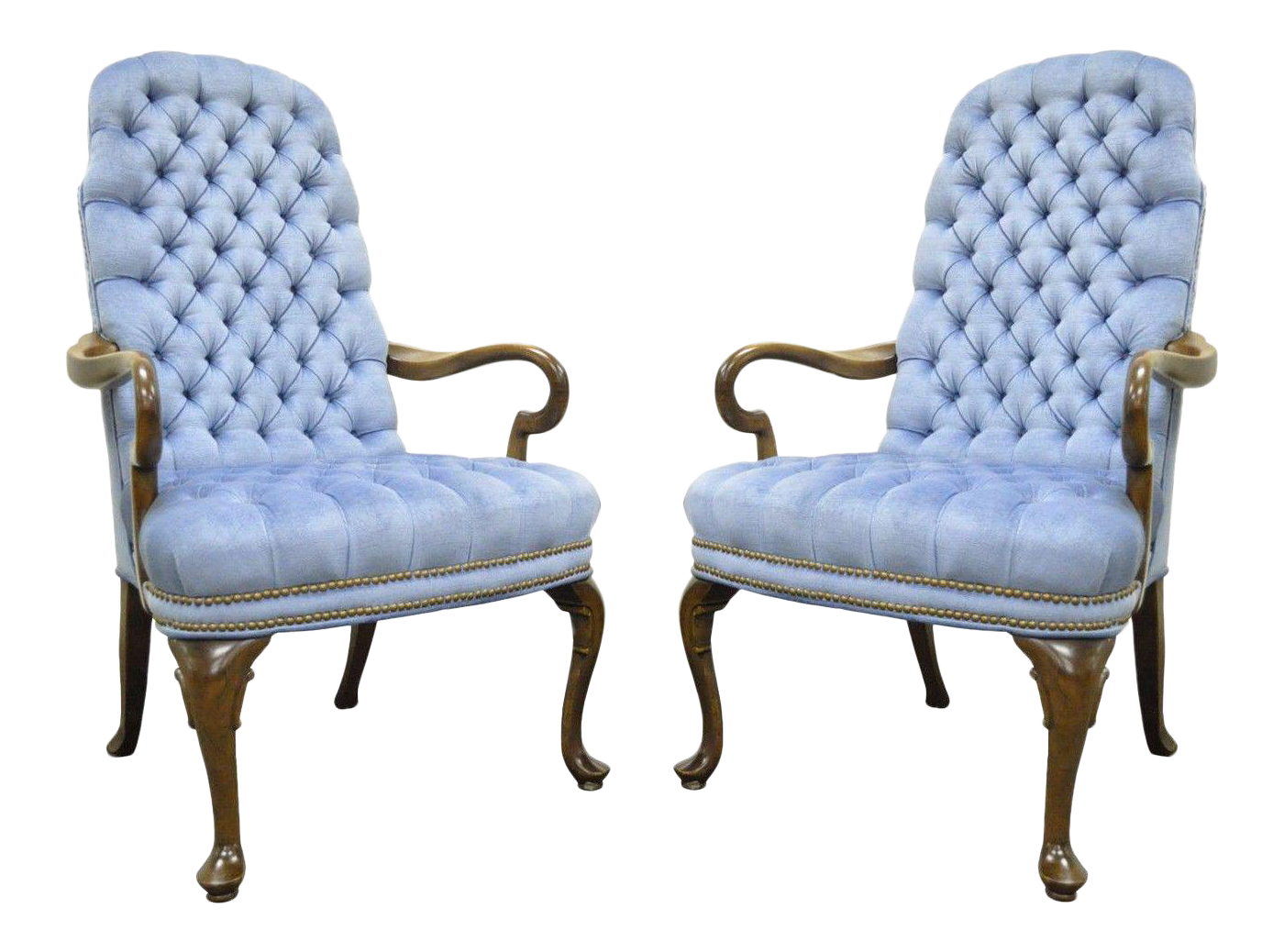 Vintage Ethan Allen Queen Anne Blue Tufted Library Office Lounge Arm Chairs    A Pair