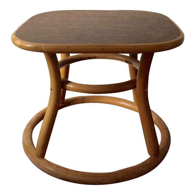 Vintage bentwood bamboo side table chairish for Bamboo side table