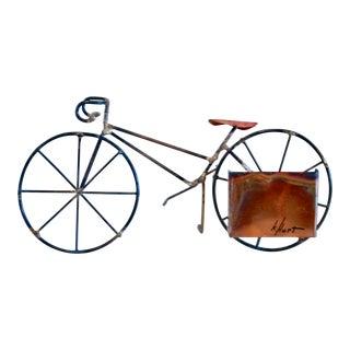 Brutalist Copper & Brass Bicycle Sculpture