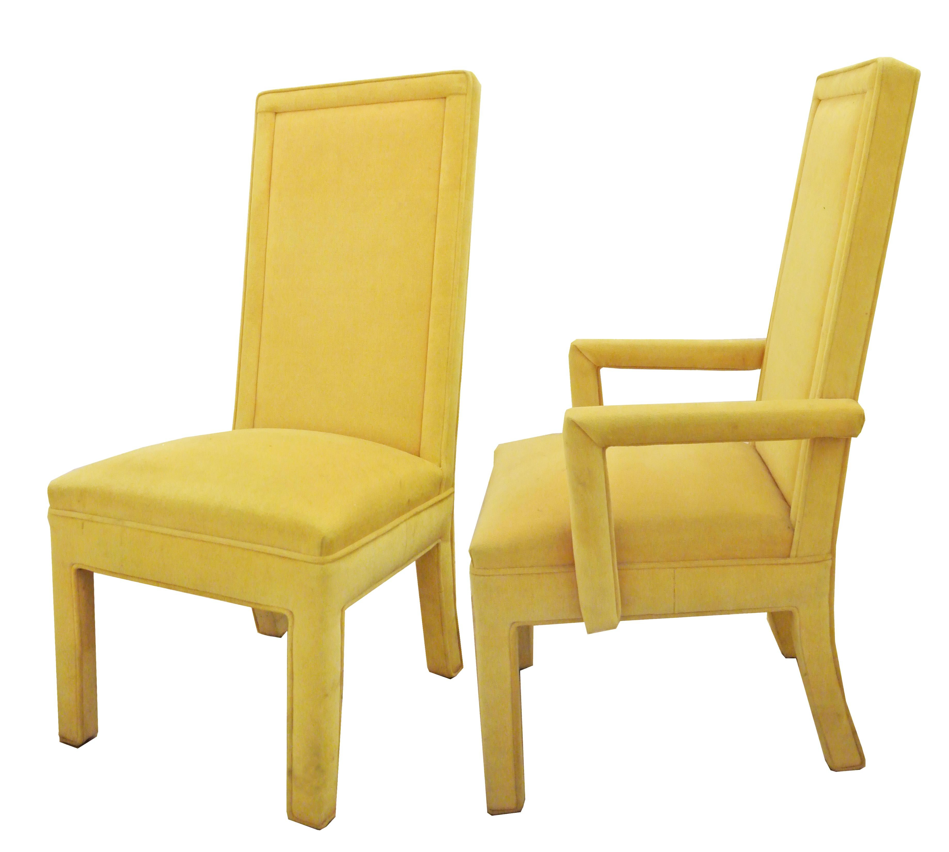 Yellow Faux Mohair Upholstered Parsons Dining Chairs Set  : yellow faux mohair upholstered parsons dining chairs set of 4 0826aspectfitampwidth640ampheight640 from www.chairish.com size 640 x 640 jpeg 27kB