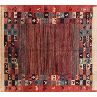 Square Hand Knotted Tribal Oriental Rug - 8′1″ × 8′8″