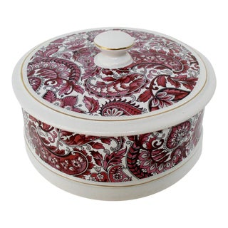 Pink & Burgundy Ceramic Container