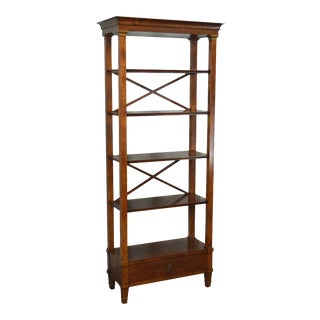 Quality Italian Walnut Biedermeier Style Tall Bookcase