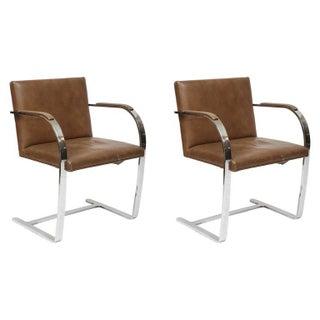 Ludwig Mies van der Rohe Flat Bar Brno Chairs - A Pair