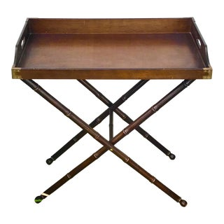 Vintage Campaign Style Tray Table Bar