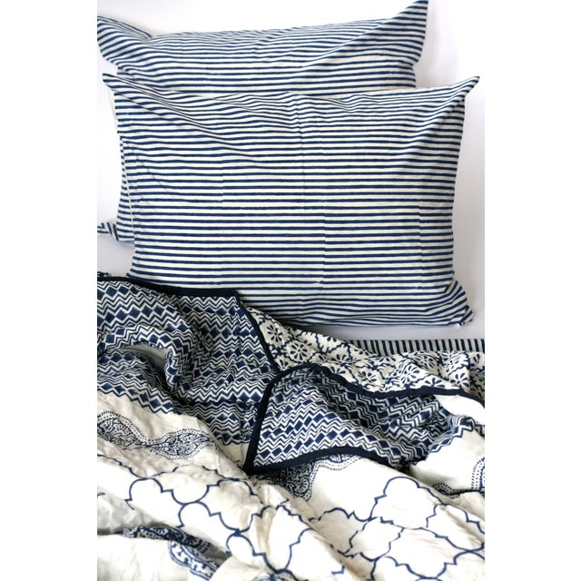 Image of Blue Block-Printed Quilt - Queen