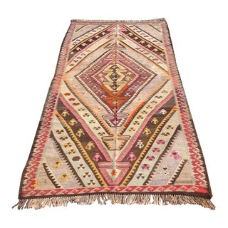 "Vintage Turkish Kilim Rug - 4'6"" X 8'5"""