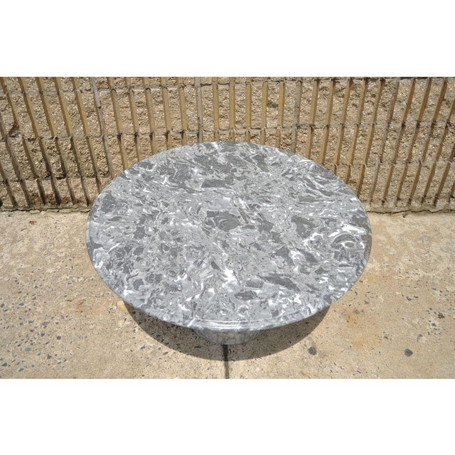 Vintage Decorator Hollywood Regency Italian Grey Marble Round Coffee Table - Image 2 of 8
