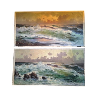 M. Rinaldi Vintage Seascape Paintings - A Pair