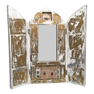 Triptych Collage & Multi-Media Paper Mache Screen With MIrror