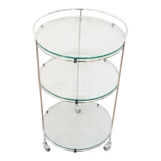 Modern Chrome & Glass Bar Cart