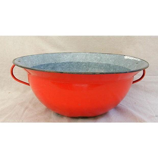 Jumbo Red European Enamelware Harvest Bowl - Image 2 of 8