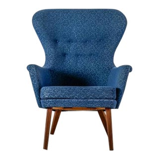 Carl-Gustav Hiort af Ornas high blue lounge chair, Finland, 1950s