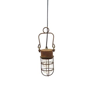 1930s Industrial Caged Pendant Light