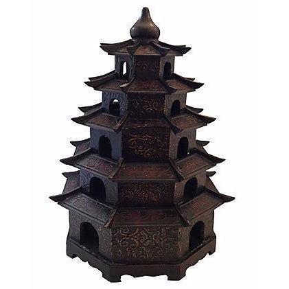 Image of Chinoiserie Carved Wood Pagoda