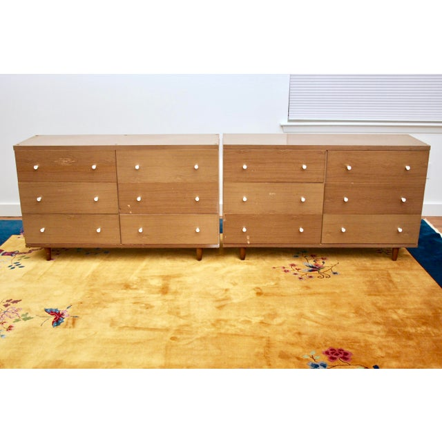 Midcentury Modern 6-Drawer Dressers, a Pair - Image 2 of 11