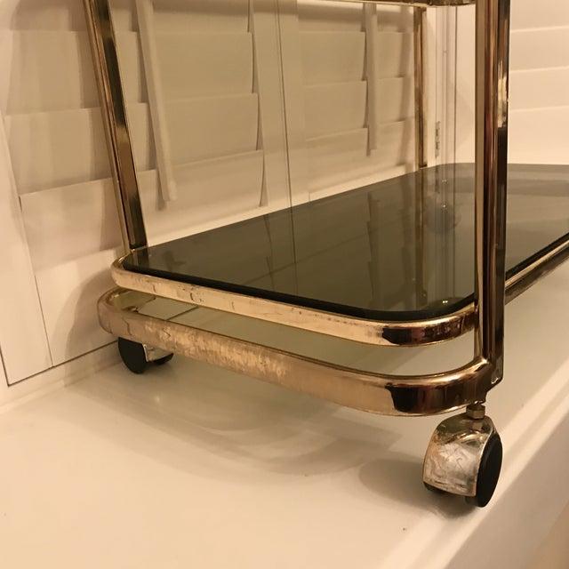 Mid-Century Brass & Smoke Glass Bar Cart - Image 8 of 10