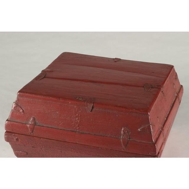 Red lacquer box with a removable top from China c. 1875 - Image 3 of 5