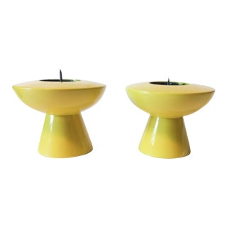 Atomic Lemon Lacquer Candleholders - Pair