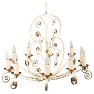 French Painted Metal 10-Light Chandelier 1940s