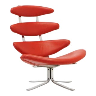 Original Poul Volther Ej5 Corona Chair Redone in Red Edelman Leather
