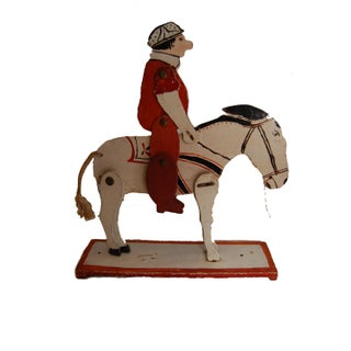 American Folk Art Movable Horse & Jockey