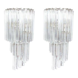 Camer Crystal Glass Demi-Lune Sconces - a Pair