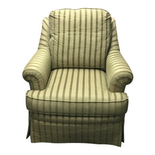 Sherril Furniture Beige & Green Stripe Arm Chair