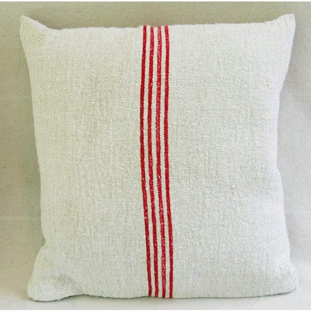 French Red Stripe Grain Sack Pillows - Pair - Image 6 of 9