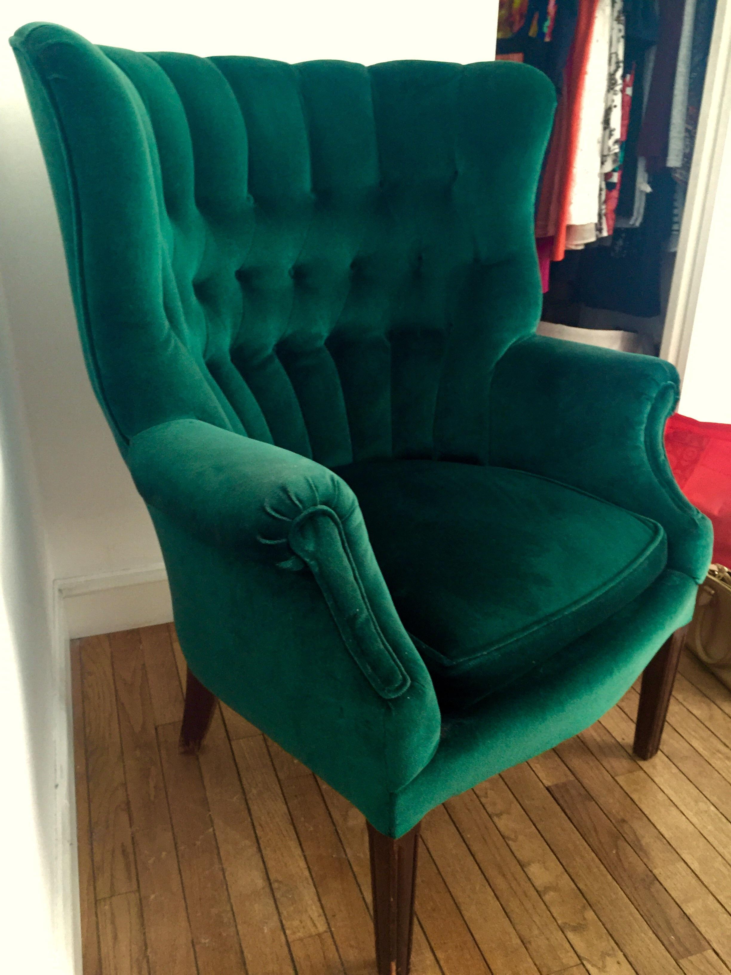 Vintage Emerald Green Armchair   Image 2 Of 4