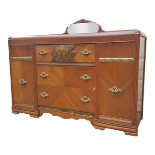 Antique Art Deco Waterfall Sideboard With Mirror