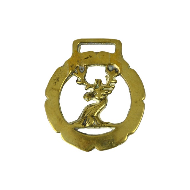 Vintage English Brass Stag Equestrian Ornament - Image 3 of 3