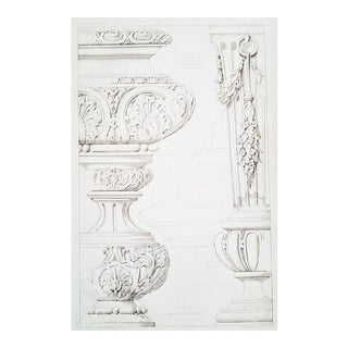 French Architectural Lithograph-Furniture Design 1880s