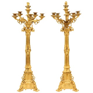 Pair of Large Gilt Bronze Candelabra