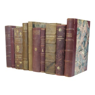 Wine & Olive Toned Leather Bound Books - 10