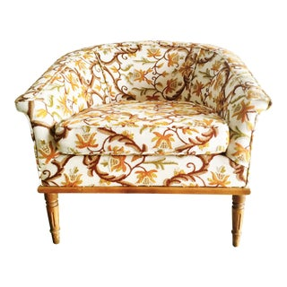 Baker Mid Century Crewel Floral Club Chair