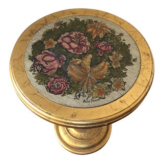 Alex Stuart Design Vintage Gold Floral Accent Table