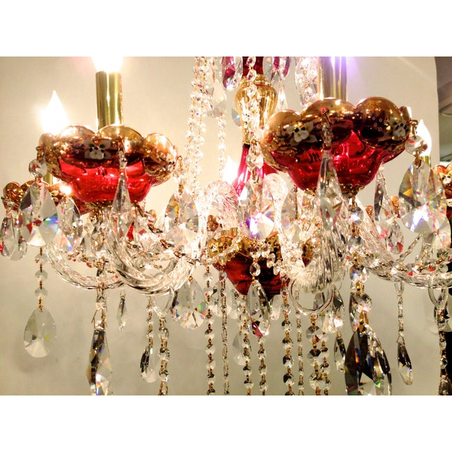 Red Crystal Chandelier - Image 7 of 8