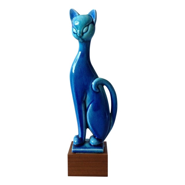 Royal Haeger Mid Century Modern Blue Cat - Image 1 of 11