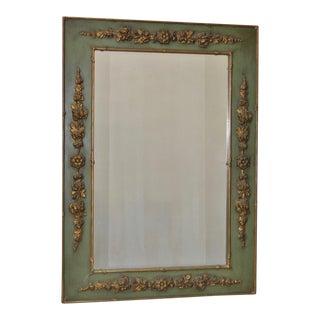 Vintage Wood & Gilt Gesso Flower Framed Mirror c.1930s
