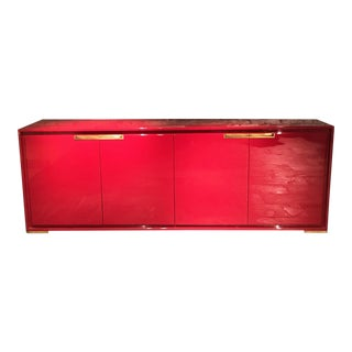 Modern Red Lacquered Axis Sideboard