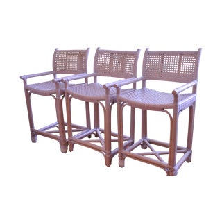 "LaCor Rattan & Leather ""Kevin"" Stools - Set of 3"