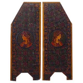 Art Nouveau Carved Wood Artist Panels - Pair
