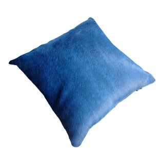 Gambrell Renard Blue Cowhide Pillow