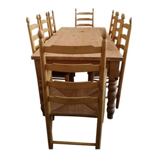 Solid White Pine Farm Table & French Country Chairs Dining Set