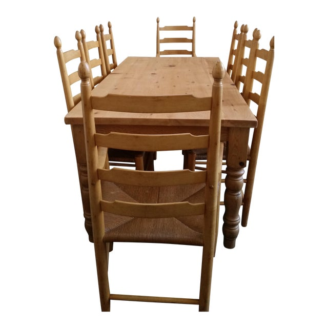 Solid White Pine Farm Table & French Country Chairs Dining ...