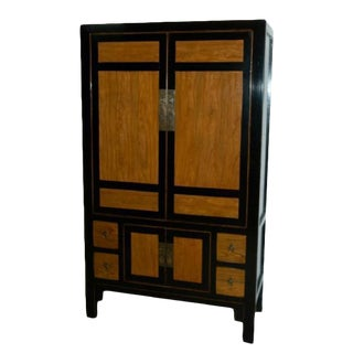 Asian Style Black & Burl Cabinet