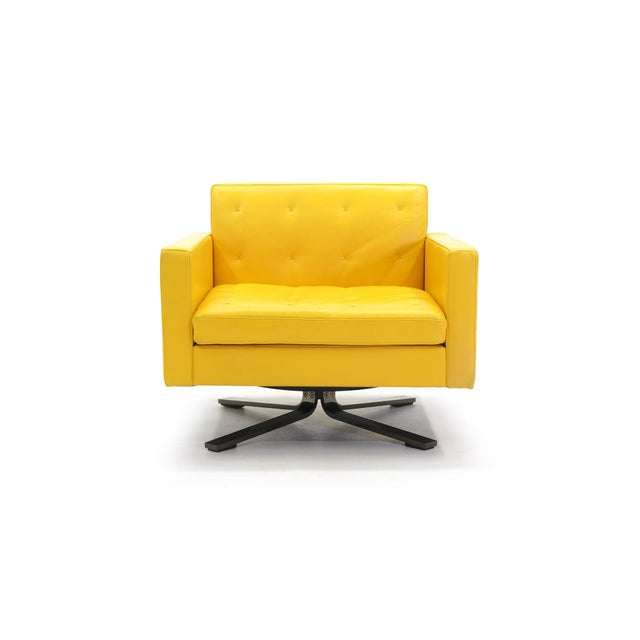 Poltrona Frau Yellow Leather Memory Swivel Lounge Chair - Image 2 of 11